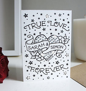 Personalised True Love Card With Diamante - anniversary cards
