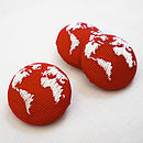 Red Set of Three Embroidered Globe Buttons