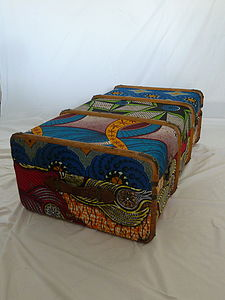 Vintage Tribal Block Printed Fabric Trunk
