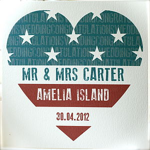 Personalised Stars And Stripes Wedding Card - wedding cards