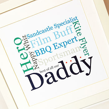 My Dad/Daddy Personalised Typographic Print