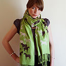 Green Equus Hand Printed Scarf