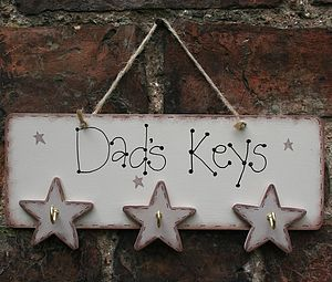 'Dad's Keys' Wooden Sign With Hooks
