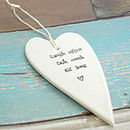 White Ceramic Hanging Heart - Sit Long ...