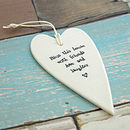 White Ceramic Heart - Bless this house ...