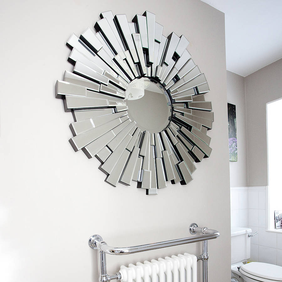 All glass round contemporary mirror by decorative mirrors for Miroirs decoratif
