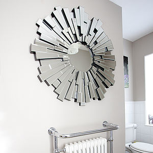 All Glass Round Contemporary Mirror - home accessories