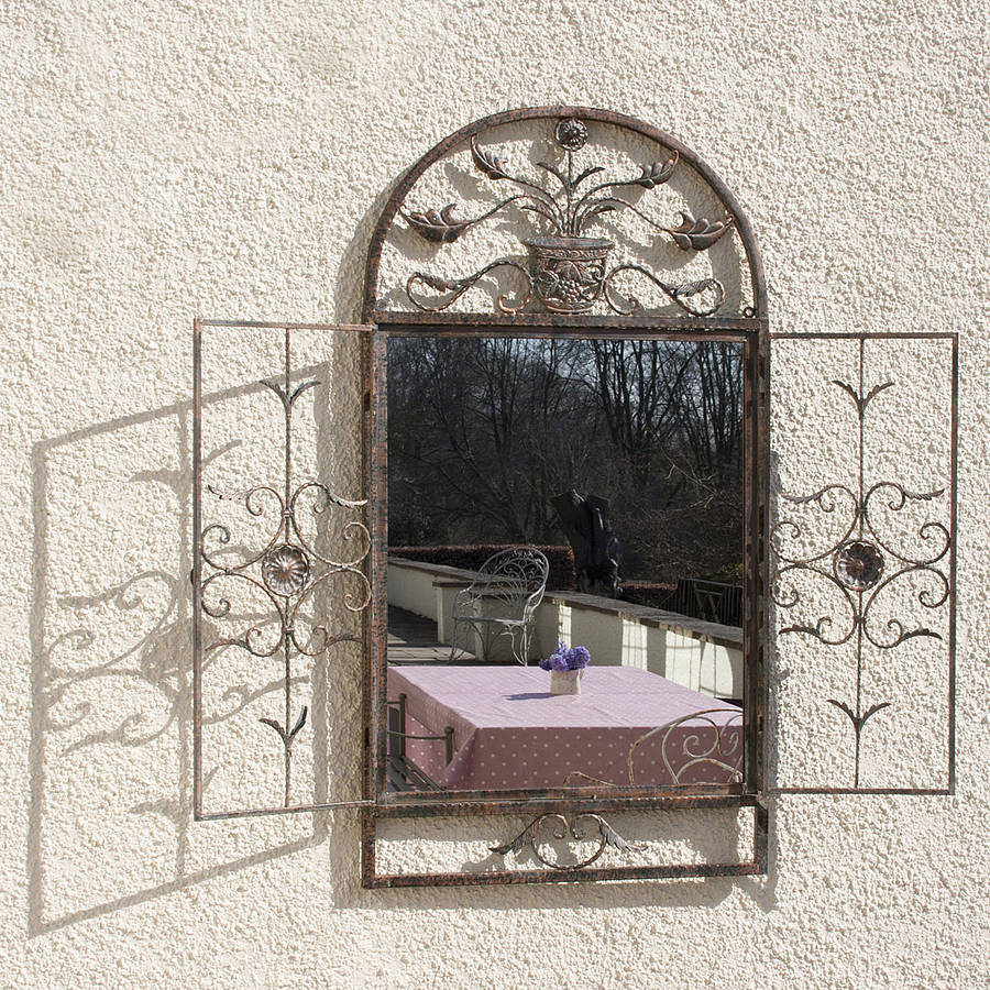 Floral garden window mirror by decorative mirrors online for Ornamental mirrors