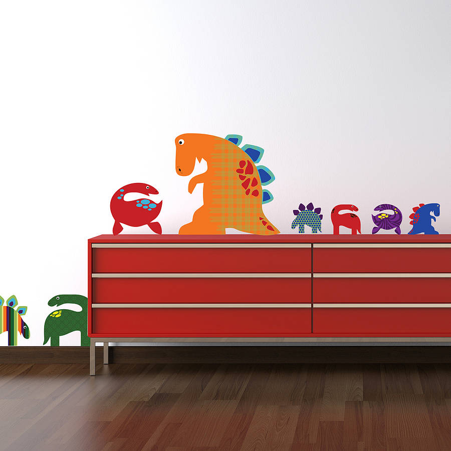 Patterned Dinosaurs Wall Sticker Set By Spin Collective