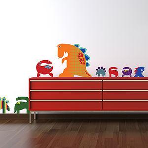 Patterned Dinosaurs Wall Sticker Set - wall stickers