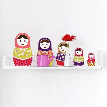 Russian Dolls Colour Wall Sticker Set