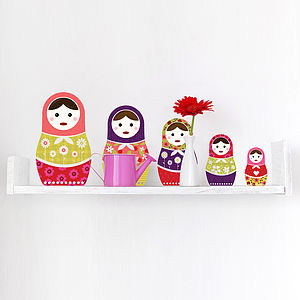 Russian Dolls Colour Wall Sticker Set - wall stickers