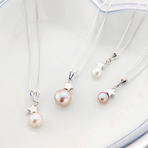 Mini Pearl Pendant With Silver Star - necklaces & pendants