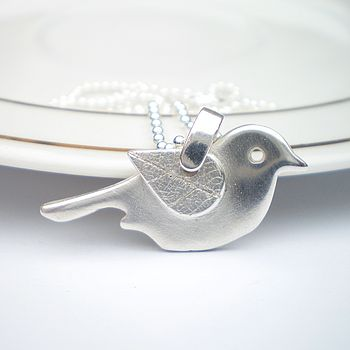 Leaf Wing Silver Bird Necklace