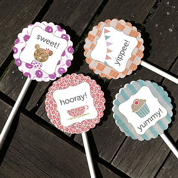 Pack Of Ten Teddy Bear Cupcake Toppers