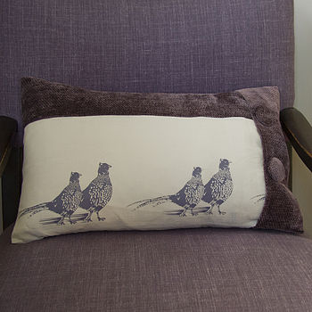 Pheasants Hand Printed Cushion