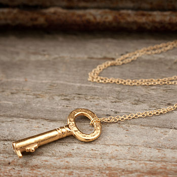 Gold Vintage Inspired Key Necklace