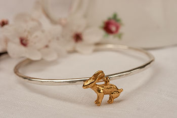 Gold Rabbit Charm Bangle