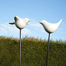 Ceramic Bird Feeder On Metal Cane