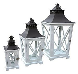 Set Of Three Antique Style Lantern - outdoor decorations