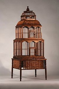 Wooden Two Tier Birdcage & Stand