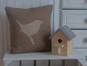 ' Jenny Wren ' Printed Hessian Cushion