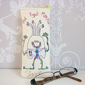 Personalised 'Four Eyed Monster' Glasses Case - more