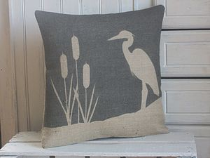 ' Heron And Bulrush ' Cushion - bedroom