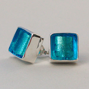 Murano Glass Square Silver Stud Earrings