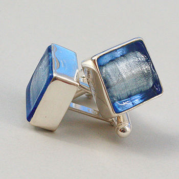 Murano Glass Square Silver Cufflinks - Ice Blue