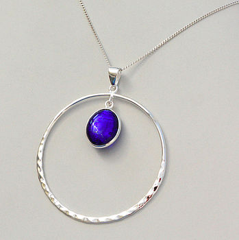 Murano Glass & Sterling Silver Circle Pendant - Cobalt Blue