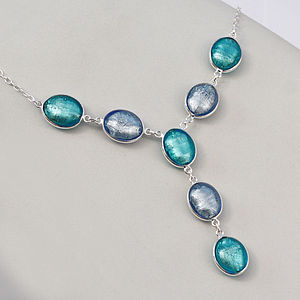 Silver Necklace With Murano Glass Ovals - necklaces & pendants