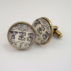 'Yes' And 'No' Antique Bronze Round Cufflinks