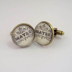 'Maybe' 'Anytime' Antique Bronze Cufflinks