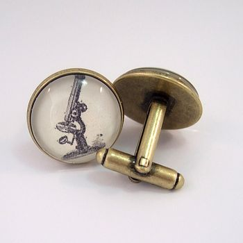 Vintage Microscope Antique Bronze Cufflinks