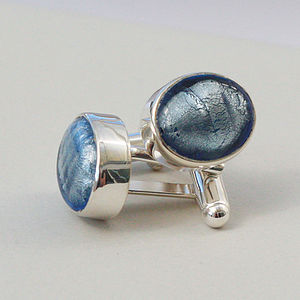 Murano Glass Oval Silver Cufflinks - men's jewellery