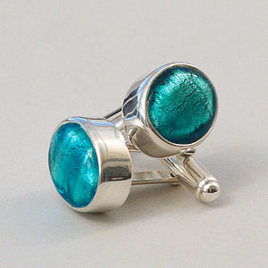 Murano Glass Oval Silver Cufflinks - women's jewellery