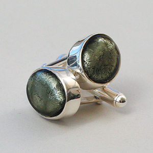 Murano Glass Oval Silver Cufflinks - men's accessories