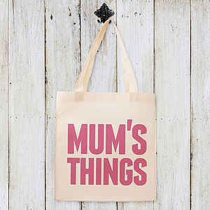 'Mum's Things' Cotton Tote Bag - for mothers