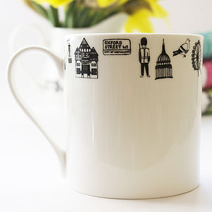Illustrated Fine Bone China London Mug - crockery & chinaware