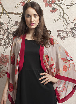 Poppy Print Silk Cotton Shrug