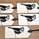 Set Of Five Blue Tit Hand Printed Gift Tags