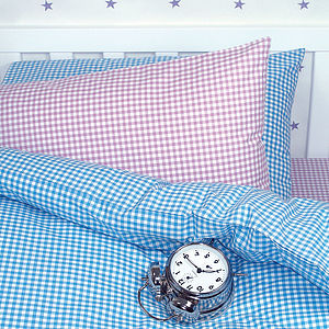Gingham Duvet Cover And Pillowcase - children's room