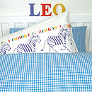 Blue Gingham Set shown with Animals pillowcase