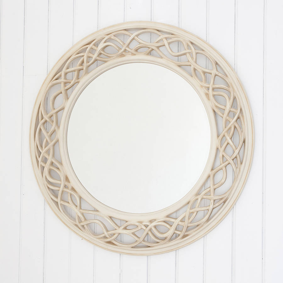 Cream twisted round mirror by decorative mirrors online Round framed mirror