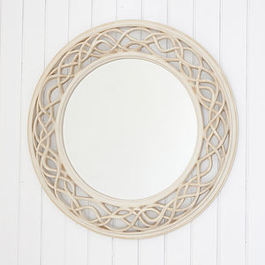 Cream Twisted Round Mirror