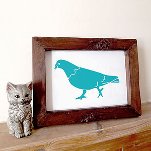 Kid's Room Handprinted Pigeon Print