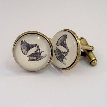 Vintage Phonograph Antique Bronze Cufflinks