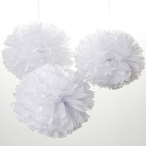 Decorative Tissue Pom Poms All White - decorative accessories