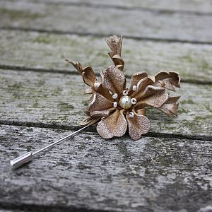 Burnished Pearl Leather Lapel Pin - pins & brooches